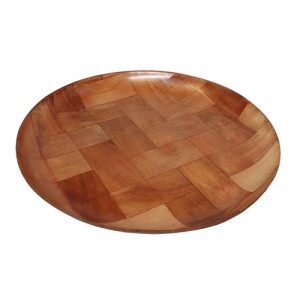 "8"" Round Woven Wood Coupe Plate"