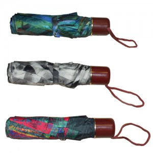 "7.5"" Maroon Handle Umbrella: 3 Assorted Colours"
