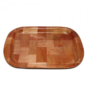 "10x6.5"" Rectangle Woven Wood Plate"