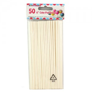 "50-Piece 6"" Lollipop / Cake Pop Sticks"