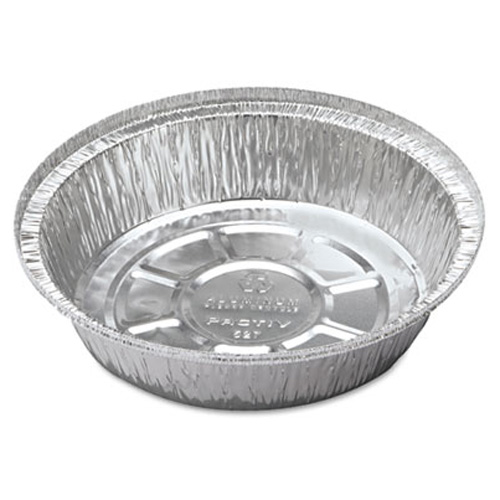 "9"" Round Hemmed Edge Aluminum Take-Out Container - 500 CT"